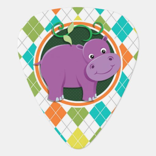 Hippo on Colorful Argyle Pattern Guitar Pick