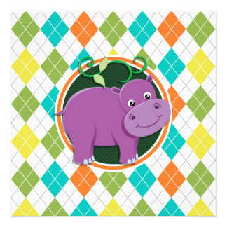 Hippo on Colorful Argyle Pattern Personalized Announcement