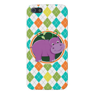 Hippo on Colorful Argyle Pattern Covers For iPhone 5