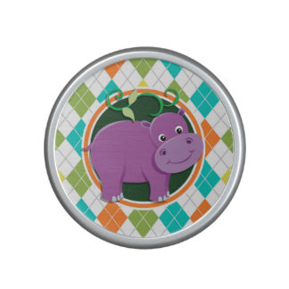 Hippo on Colorful Argyle Pattern Speaker