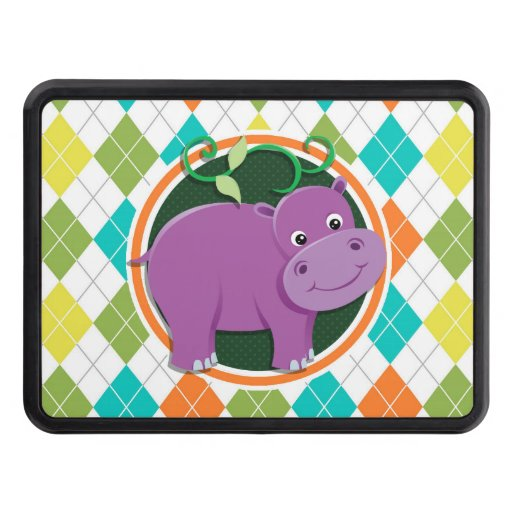 Hippo on Colorful Argyle Pattern Trailer Hitch Cover