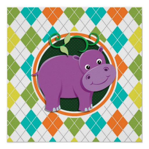 Hippo on Colorful Argyle Pattern Poster