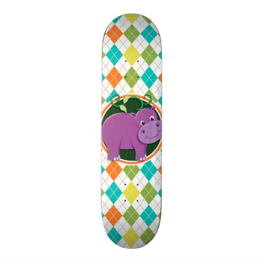 Hippo on Colorful Argyle Pattern Skateboard Deck