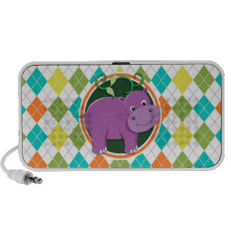 Hippo on Colorful Argyle Pattern Mp3 Speaker