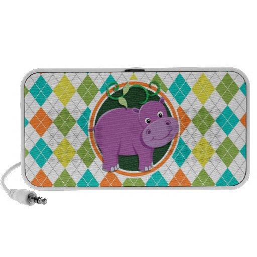 Hippo on Colorful Argyle Pattern Mp3 Speaker