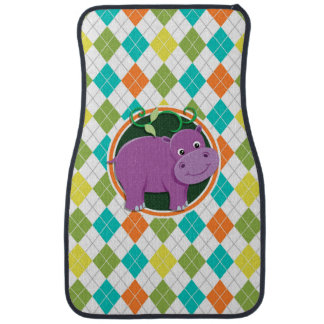 Hippo on Colorful Argyle Pattern Floor Mat
