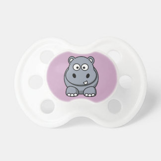 Hippo on Purple Background Pacifiers