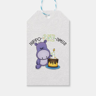 Hippo-ONE amus First Birthday Gift Tags