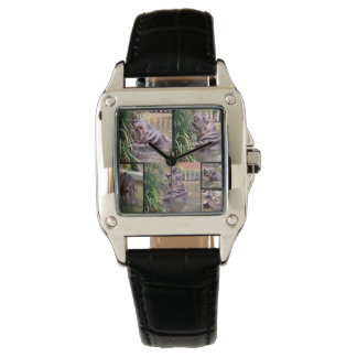Hippo_Photo_Collage_Ladies_Black_Leather_Watch. Wristwatch