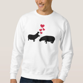 Hippo red hearts love sweatshirt