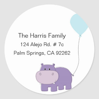 Hippo Round Address Labels
