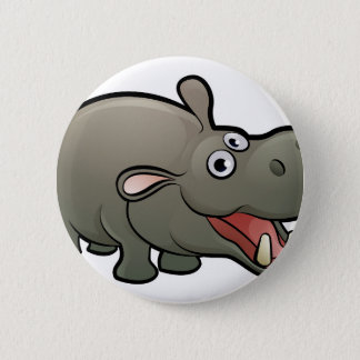Hippo Safari Animals Cartoon Character 2 Inch Round Button