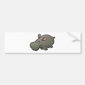 Hippo Safari Animals Cartoon Character Bumper Sticker