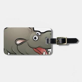 Hippo Safari Animals Cartoon Character Luggage Tag