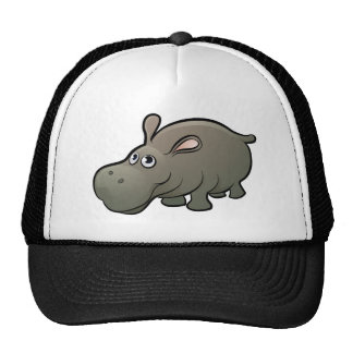 Hippo Safari Animals Cartoon Character Trucker Hat