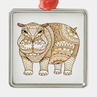 Hippo Silver-Colored Square Ornament