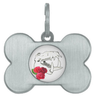 Hippo Skull with Roses Pet Tag