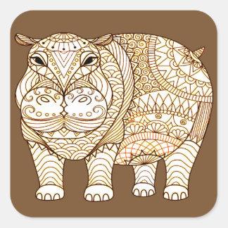 Hippo Square Sticker