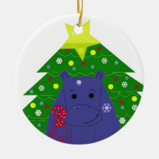 Hippo with a Christmas Tree Round Ceramic Ornament