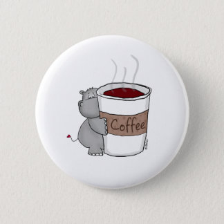 Hippo with Coffee 2 Inch Round Button