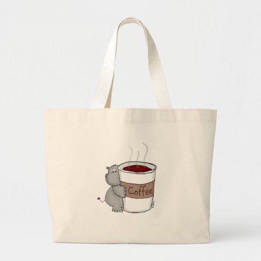 Hippo with Coffee Tote Bags