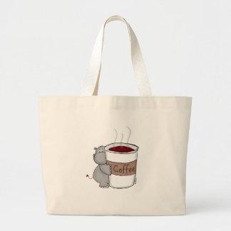 Hippo with Coffee Jumbo Tote Bag