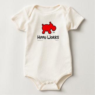 "Hippo Works Organic Baby Bodysuit ""Hippo Logo"""
