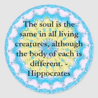 Hippocrates Animal Rights Quote Classic Round Sticker