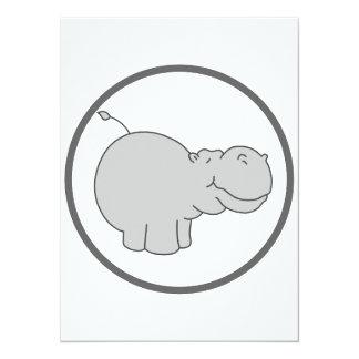 Hippopotame mignon cartons d'invitation