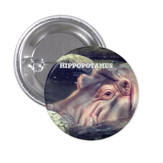 Hippopotamus 1 Inch Round Button