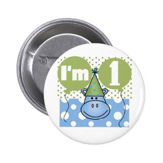 Hippopotamus 1st Birthday Tshirts and Gifts 2 Inch Round Button