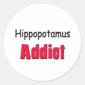 Hippopotamus Addict Round Sticker