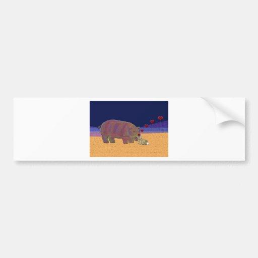 Hippopotamus and Rabbit Love Valentine Bumper Stickers