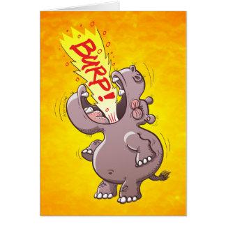 Hippopotamus Burping Loudly Greeting Card