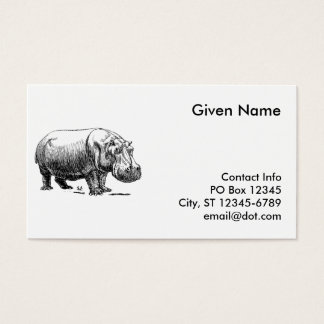 Hippopotamus Business Card