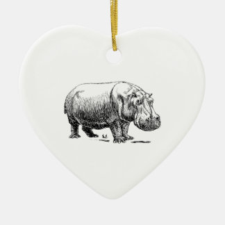 Hippopotamus Ceramic Heart Ornament