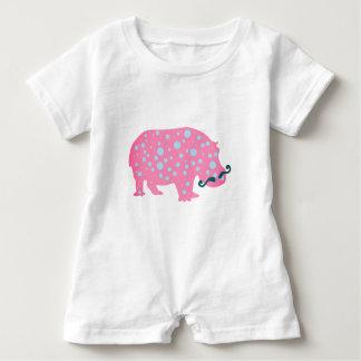 Hippopotamus Dots Moustacehs Baby Romper, White Baby Romper