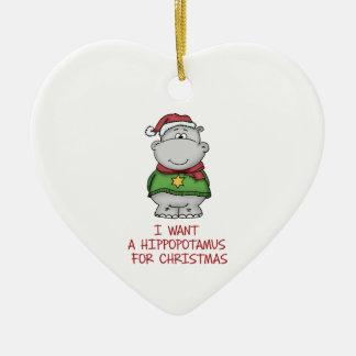 Hippopotamus for Christmas - Cute Hippo Design Ceramic Heart Ornament