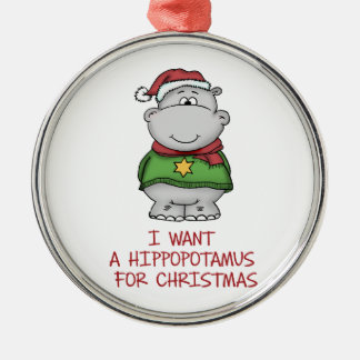 Hippopotamus for Christmas - Cute Hippo Design Silver-Colored Round Ornament