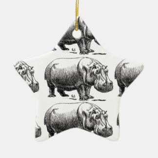 hippopotamus gold ceramic ornament