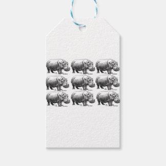 hippopotamus gold gift tags