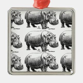 hippopotamus gold metal ornament