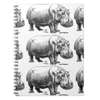 hippopotamus gold notebook