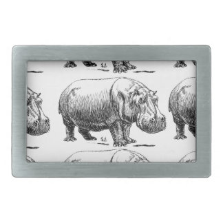 hippopotamus gold rectangular belt buckle