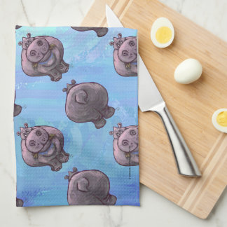 Hippopotamus Heads and Tails Patterns Kitchen Towel
