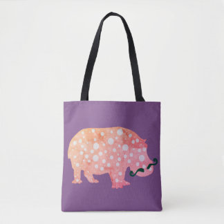 Hippopotamus Hipster All-Over-Print Tote Bag