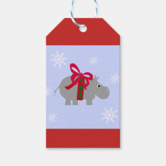Hippopotamus Holiday Gift Tag