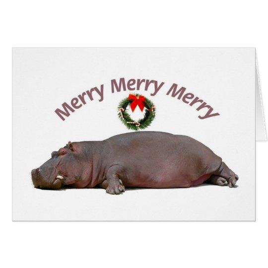 Hippopotamus Merry Merry Merry Fun Card