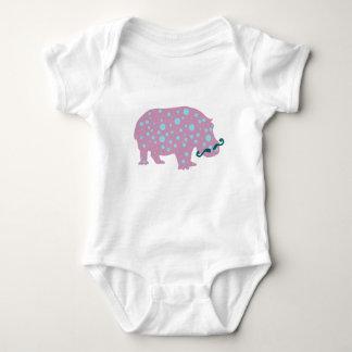 Hippopotamus moustache Baby Jersey Bodysuit, White Baby Bodysuit