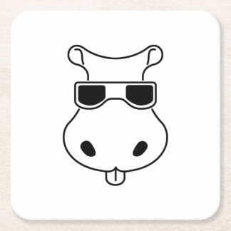 Hippopotamus Sunglasses Love Hippos Fiona Baby Square Paper Coaster